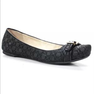 Emporio Armani Black Square Toe Embroidered Flats